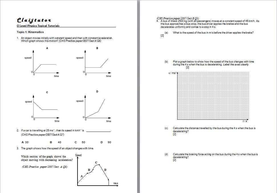 Printables of Kinematics Worksheet O Level - Geotwitter ...
